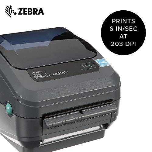Zebra - GX420d Direct Thermal Desktop Printer for Labels, Receipts, Barcodes, Tags, and Wrist Bands - Print Width of 4 in - USB, Serial, and Ethernet Port Connectivity (Includes Peeler) by Zebra Technologies (Image #1)