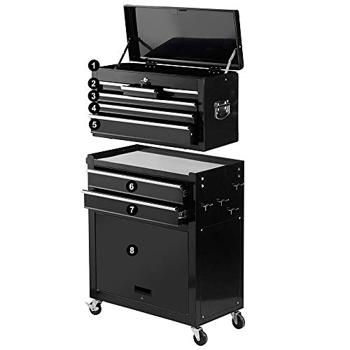 2Pcs Tool Storage Box Portable Top Chest Rolling Tool Box Organizer Sliding Drawers Cabinet Keyed Locking System Toolbox Black by Suny Deals (Image #1)