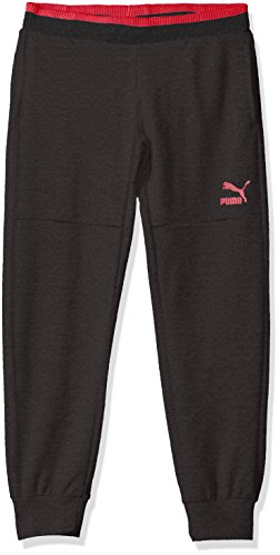 PUMA Big Girls' Melange Jogger Pants, Dark Heather Grey, Medium (8/10) by PUMA