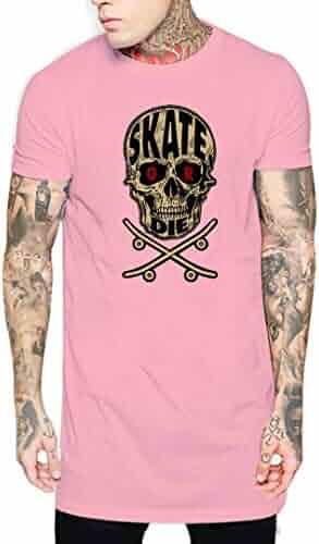 c7b2af5b Adaokuy Skate OR DIE Men Tee Print Long Hip Hop Short Sleeve Longline Balck  US Size