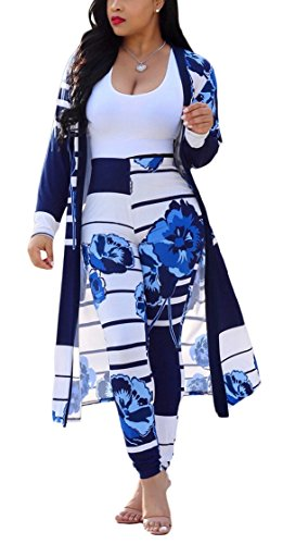 Womens 2 Piece Outfits Strips Floral Print Open Front Cardigan and Pants Set ()