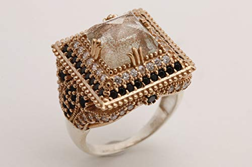 Turkish Handmade Jewelry Square Shape Glitter Brown Shiny Quartz and Round Cut Black Onyx Topaz 925 Sterling Silver Ring All Sizes Available