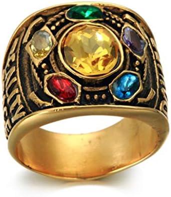 ヴィンテージステンレス鋼リング、メンズリング、パンクの宝石類のギフト、金 (Color : Gold, Size : 10)