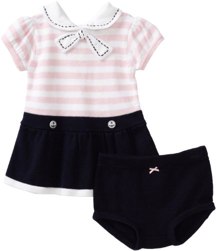 Hartstrings Baby-girls Newborn Sailor Sweater Dress and Diaper Cover Set