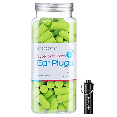 Foam Earplugs, 80 Pairs Ultra Soft Ear Plugs ETEREAUTY Noise Reduction Earplugs Quiet 34dB NRR High Fidelity for Sleep, Snoring, Shooting, Concerts, Working, Travel - Hearing Protection ()