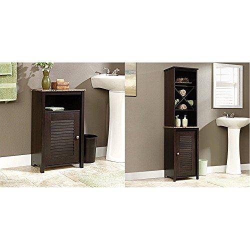 (Sauder Peppercorn Floor Cabinet, Cinnamon Cherry Finish + Sauder Linen Tower Bath Cabinet, Cinnamon Cherry Finish_Bundle)
