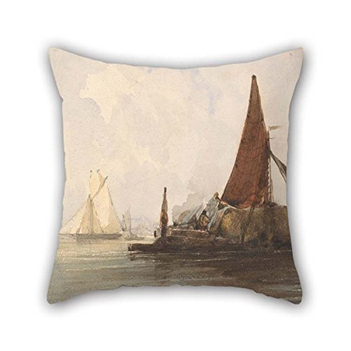 beeyoo Oil Painting Charles Bentley - Hay Barge in A Calm Sea Pillowcover 16 X 16 inches / 40 by 40 cm Gift Or Decor for Dining Room Adults Relatives Indoor Car Office - Two Sides