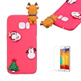 Cute Cartoon Case For Samsung Galaxy S7,Funyee Stylish 3D Christmas Deer Design Ultra Thin Soft TPU Silicone Case for Samsung Galaxy S7,Anti-scratch Rubber Durable Shell Smart Phone Case with Free Screen Protector,Red