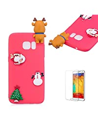 Cute Cartoon Case For Samsung Galaxy S7 Edge,Funyee Stylish 3D Christmas Deer Design Ultra Thin Soft TPU Silicone Case for Samsung Galaxy S7 Edge,Anti-scratch Rubber Durable Shell Smart Phone Case with Free Screen Protector,Red