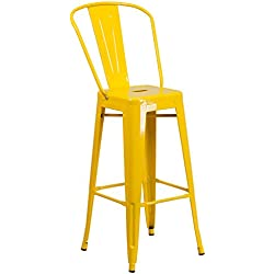 Flash Furniture 30'' High Yellow Metal Indoor-Outdoor Barstool with Back