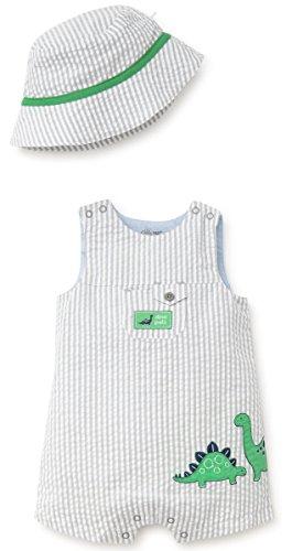Sunsuit Woven - Little Me Baby Boys Woven Sunsuit with Bucket Hat, Grey 6 Months