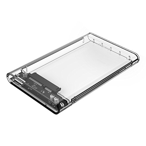 ORICO 2.5 USB 3 External Hard Drive Enclosure, USB3.0 to SATA Portable Clear Hard Disk Case for 2.5 inch 7mm 9.5mm SATA HDD SSD, Support UASP SATA III, Max 4TB, Tool-Free Design - Clear
