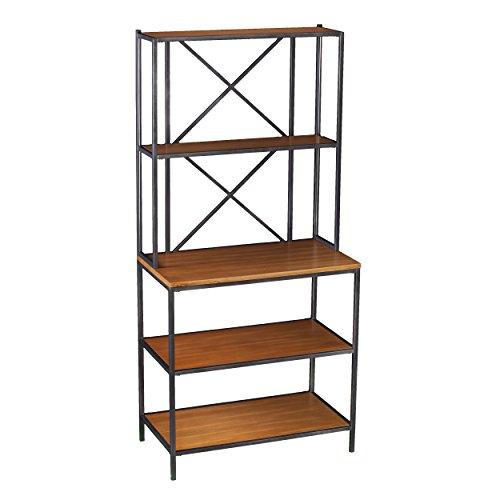 Furniture HotSpot – 5 Shelf Bakers Rack – Matte Black w/ Honey Pine - 31