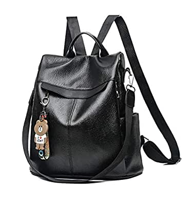 Aiseyi Women Backpack Purse PU Leather Anti-theft Waterproof Casual Rucksack Lightweight School Shoulder Bag Black Size: 12.99 * 5.9 * 12.99 inch