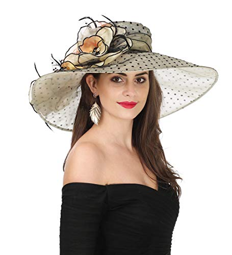 SAFERIN Women's Organza Church Kentucky Derby Fascinator Bridal Tea Party Wedding Hat (GZ-Wide Brim Champagne Dot) ()
