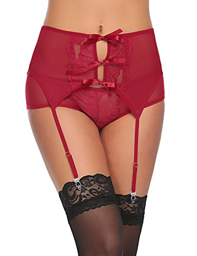 ADOME Women's 2 Pieces Lace Suspender Garter Belt Set With Panty For Stockings Dark Red L