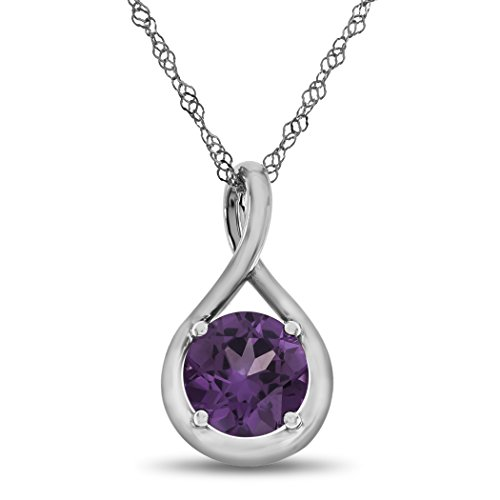 Slide Alexandrite (Finejewelers 7mm Round Simulated Alexandrite Twist Pendant Necklace Chain Included 10 kt White Gold)