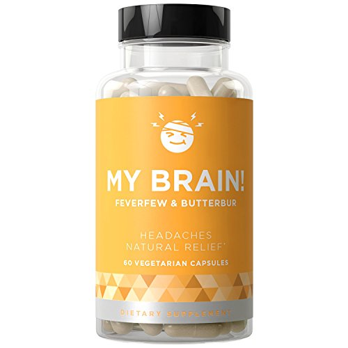 MY BRAIN! Natural Headache Relief - Fast-acting Strength & Long-term Protection - Nausea, Auras, Sensitivity from Tension and Chronic Strain - Magnesium, Feverfew, Ginger - 60 Vegetarian Soft Capsules by Eu Natural