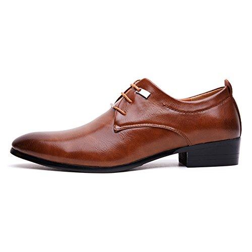 Rainlin Mens Classic Business Lace up Uniform Dress Shoes Brown PNhfv6