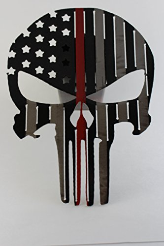Punisher Flag Trailer Hitch Cover Black with Red Stripe