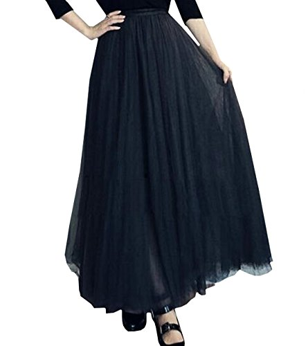 Lapiness Women's Long Tutu Tulle Skirt Full/Ankle Length A Line Maxi Skirt Wedding Party (02 Black, Free Size) -