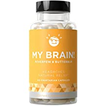 MY BRAIN! Natural Headache Relief - Fast-acting Strength & Long-term Protection - Nausea, Auras, Sensitivity from Tension and Chronic Strain - Magnesium, Feverfew, Ginger - 60 Vegetarian Soft Capsules