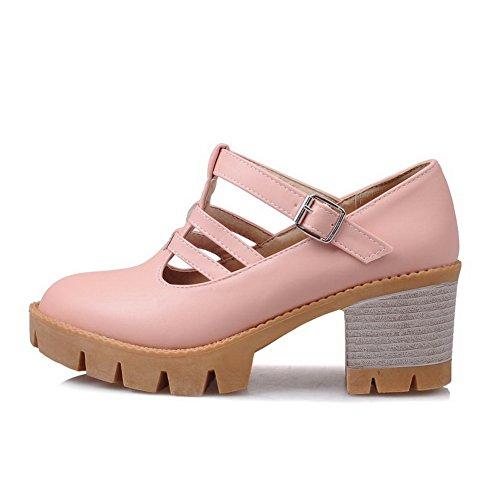 BalaMasa Womens Chunky Heels Buckle Platform Urethane Pumps Shoes Pink vHGPHubDJE