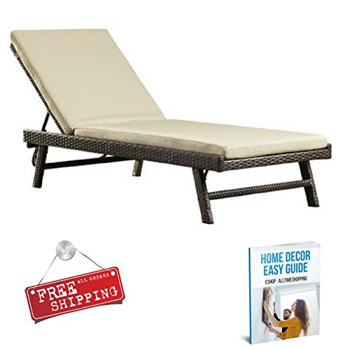 Wicker Chaise Lounge with Cushion Outdoor Lounge Chair Patio Modern Pool Furniture Contemporary Armless & eBook by AllTim3Shopping price