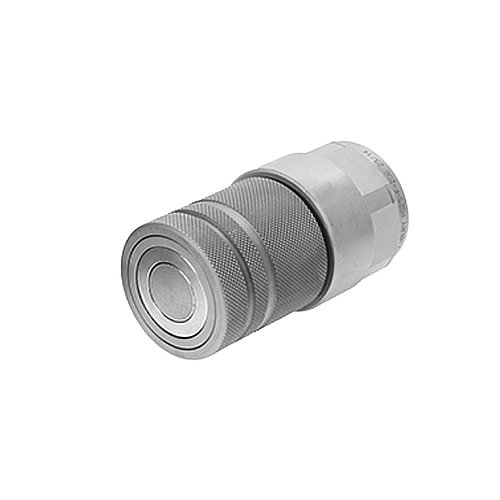 Holmbury HQ12-F-12S-NB Flat Face Coupler, HQ Series, Carbon Steel, Zinc Nickel Plated, No Locking Ball, 3/4'' SAE Female Thread, 5075 PSI Max Working Pressure, 1.6'' ID, 0.75''