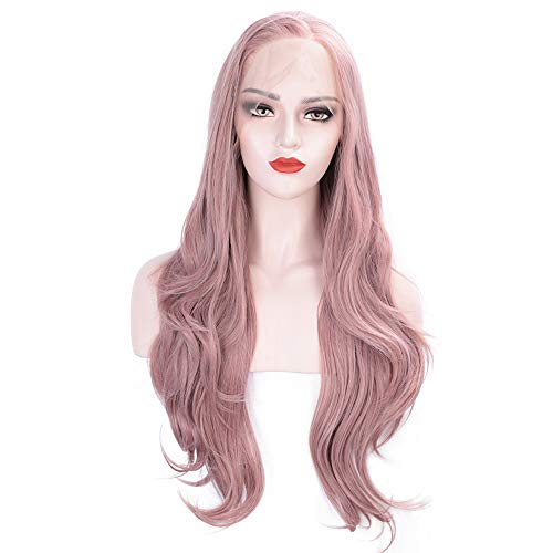 ENTRANCED STYLES Ash Pink Lace Front Wigs Synthetic Glueless Long Natural Wavy Wigs for Women Hand Tied Heat Resistant Mixed Color 30inch]()