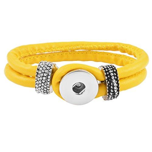 Souarts Femmes Bijoux Bracelet Double Couche pour Snap Bouton Pression 5.5mm Jaune 21cm 1PC