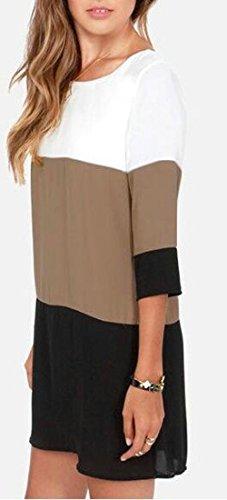 Lâche Couture Contraste Ras Du Cou Noir De Base Supérieure Courte Robe Des Femmes Cromoncent
