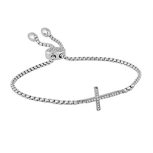 Rhythm & Muse Diamond Sterling Silver Cross Adjustable Infinity Bracelet (2/25 ct)