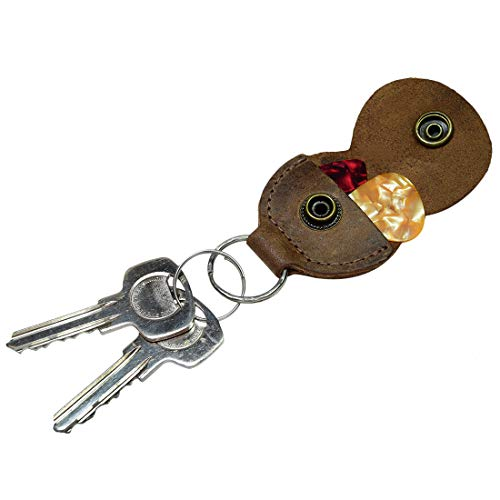 Guitar Pick Holder Leather Key Chain