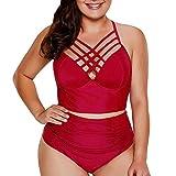 HULKAY Women's Plus Size Two Piece Swimwear Strappy High Waist Bikini Swimsuit for Women XL-XXXXXL(Wine,XL)