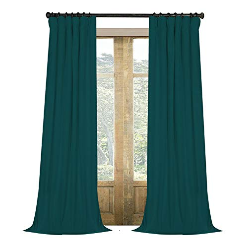 Artdix Velvet Blackout Curtains Panels Window Drapes - Ink Green 50W x 102L Inches (2 Panels) Nursery Insulated Solid Thermal Custom Blackout Curtains for Bedroom, Living Room, Kids Room, Kitchen