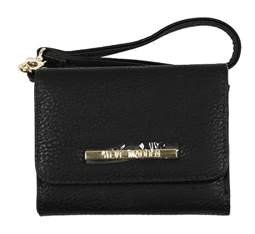 - Steve Madden French Wristlet Tri-Fold Wallet Black Gold Adult Micro zippered