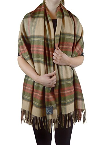 Scottish-Made-Lambswool-Blanket-Scarf-in-Stewart-Camel-Weathered-Tartan