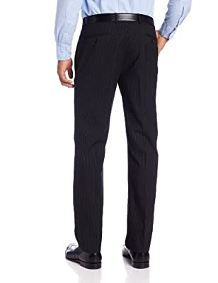 Calvin Klein Men's Mini Black Pinstripe Slim-Fit Suit