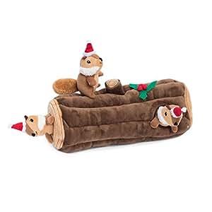 ZippyPaws Holiday Chipmunk Burrow Yule Log