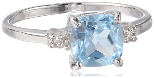 Sterling Silver, Cushion-Cut Blue Topaz, and White Topaz Ring, Size 7 (Vintage Birthstone Rings compare prices)