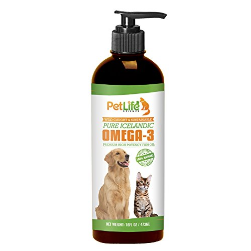 Pet Life Science Pure Omega 3 Fish Oil for Dogs - Improves Dry Itchy Skin and Coat, Excess Shedding, Joint Pain Relief in Dogs, Superior, High Potency, Liquid EPA/DHA Supplement, 16oz Pump Dispenser
