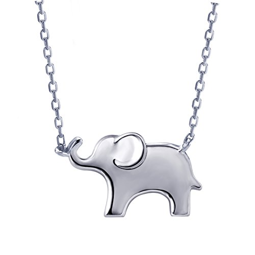 S.Leaf Simple Elephant Necklace Sterling Silver Animal Pendant Dainty Necklace (Silver)