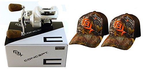 bundle-13-fishing-concept-c-c81rh-811-right-hand-baitcast-fishing-reel-with-2-l-xl-hats