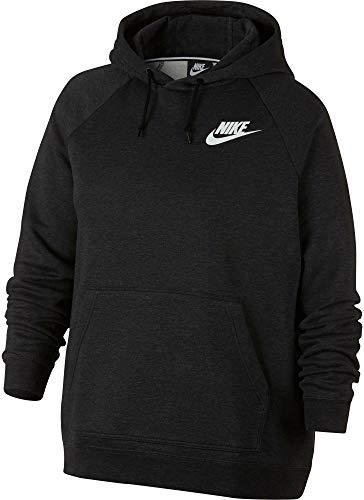 Nike Womens Plus Size Sportswear Rally Hoodie,(Black Heather/Black,3X)