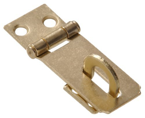 The Hillman Group 851402 3 - Fixed Staple Safety Hasps - Zinc & Yellow Dichromate Finish 1-Pack (2)