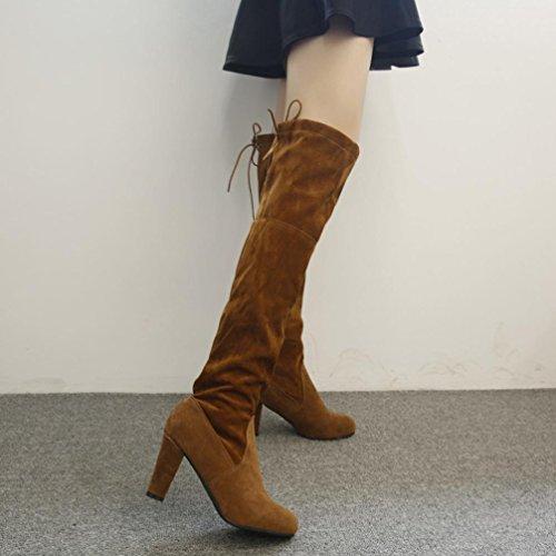 Elevin (tm) Femmes Stretch Faux Bottes Hautes Sur Les Genoux Bottes Talons Hauts Chaussures Marron