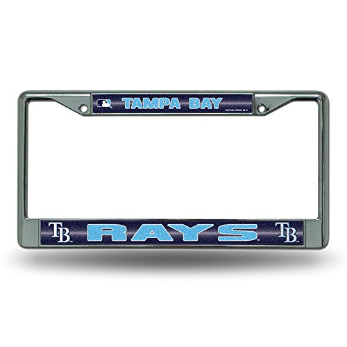 MLB Tampa Bay Rays Bling License Plate Frame, Chrome, 12 x 6-Inch