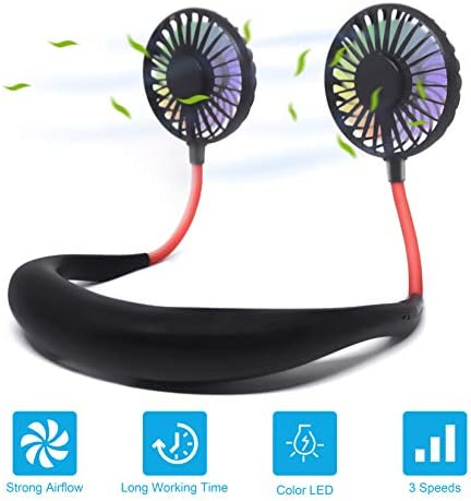 Hand Free Portable Neck Fan – Rechargeable Mini USB Personal Fan Wearable Neckband Fan 3 Level Air Flow 7 LED Lights 360 Degree Free Rotation Perfect for Sports, Office and Outdoor Black