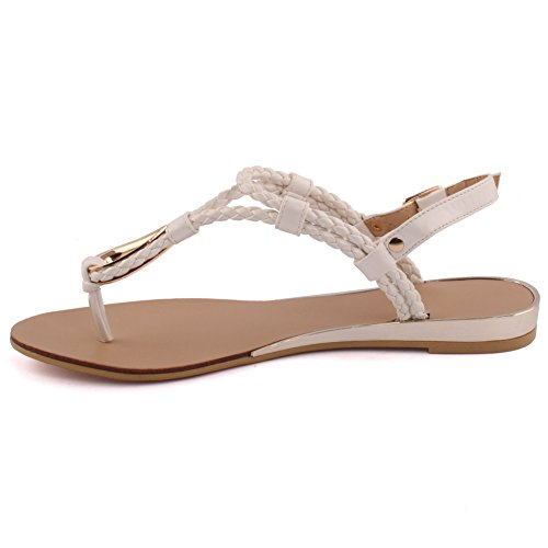 Unze Neue Frauen Conrad Geflochtene Strand T-Design Party Slider Get Together Schlinge zurück Karneval Schnalle Casual Flachbild Zehenstegsandalen Schuhe Uk Größe 3-8 - 9T288-8100 Weiß